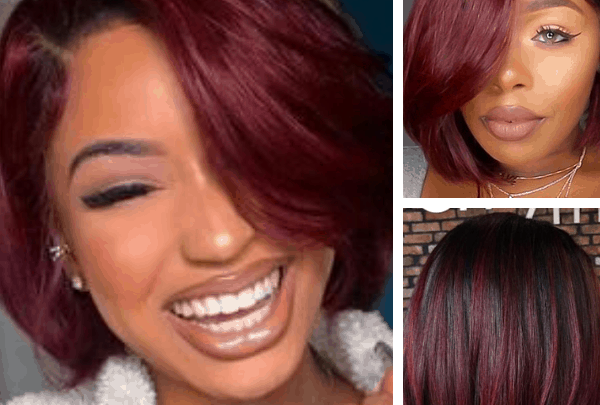 unique hair color ideas Short Dark Hair with Burgundy Highlights Burgundy Short Straight Hair unique colors to dye your hair