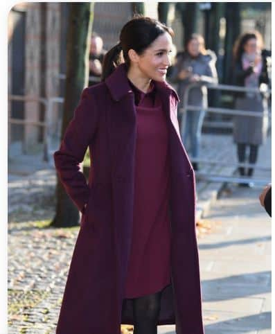 """what meghan wore today where to buy meghan markle clothes burgundy red/dark red royal family royalty british UK Colorful Chic"""