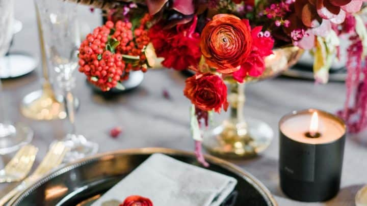 bouquet of red flowers on table