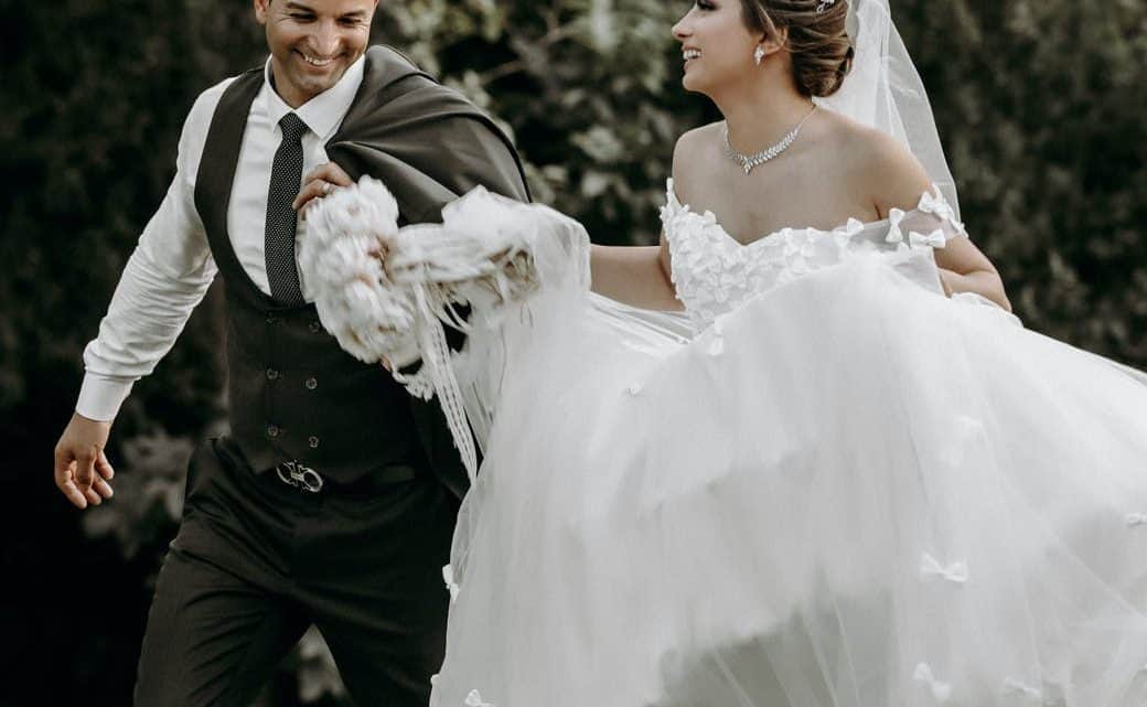 photo of a happy newlywed couple